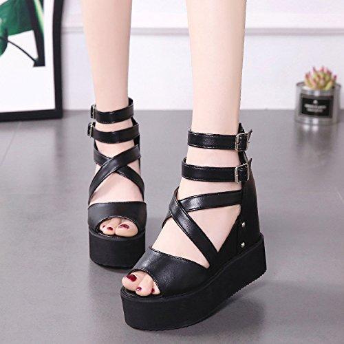 pesce black spesse bocca high di GTVERNH bende scarpe estate sandali 12cm cunei scarpe trentotto heeled maggiore roma 10 H1nSqwxB