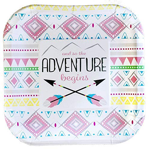 Arrow Plates - Havercamp Adventure Begins Party Plates - Pink Tribal Pattern Adventure Party Plates for Baby Showers, Gender Reveal & Birthday Party Supplies - 8 Paper Plates Pack 7