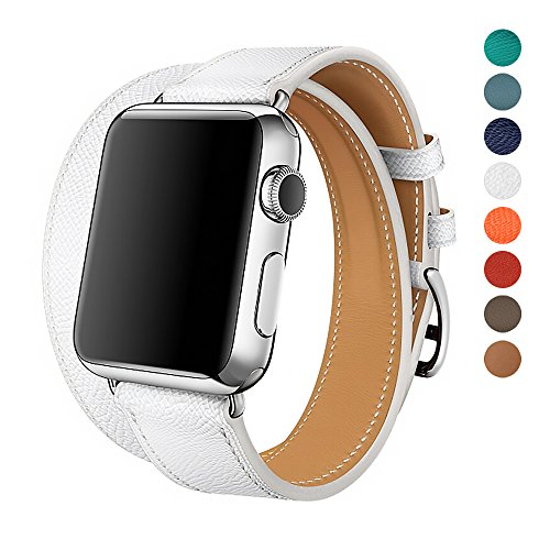 WAfeel for Iwatch Band 38/42mm Leather Double Tour iwatch Strap Replacement Band with Stainless Steel Adpter Clasp for iPhone Smart Watch Series 3 2 1,Sport Edition,Men Women (White, 38mm)
