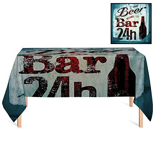 SATVSHOP Vintage Tablecloths /55x102 Rectangular,Retro Grunge Beer Bar 24h Figure Old Pub Sign Emblem Restaurant Graphic Design Maroon Dark Brown Teal.for - Sunflowers 24h