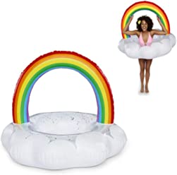 H&M Inflatable Swimming Ring Rainbow Swim Flash Pontoon for Summer Pool or Beach Play Including Air
