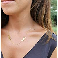 Two Names Necklace - Personalized Gold Filled Stacked 2 Names Necklace - Sterling Silver Name Necklace - Multiple Name Necklace