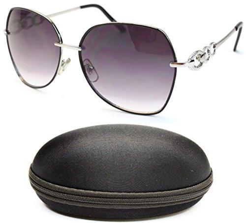 D678-cc Designer Eyewear Polygon Butterfly Sunglasses (O2668B Black/Silver-Smoked, - Eyeglasses Octagon