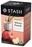Stash Tea White Peach Wuyi Oolong Tea, 1.2 oz, 18 Count Tea Bags in Foil (Pack of 6)
