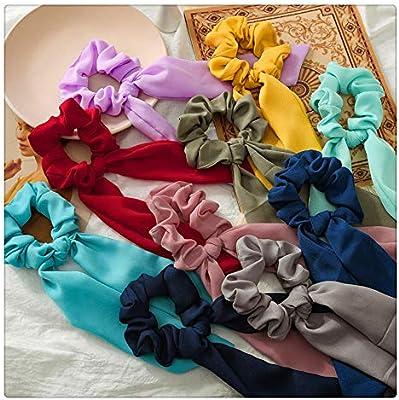 1pc Silk Satin Hair Scrunchies, Scarf Hair Ties with Flower ...