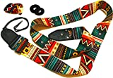 Vintage Aztec Colors Guitar Strap Bundle Includes 2 Strap Locks & 2 Unique Picks. Adjustable Polyester Guitar Strap - Suitable For Bass, Electric & Acoustic Guitars. Pre Chrismtas Limited Time Deal.