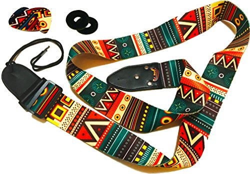 Guitar Strap Vintage Aztec Colors Strap Includes 2 Strap Locks & 2 Unique Picks. Adjustable Polyester Guitar Strap - Suitable For Bass, Electric & Acoustic Guitars. Guitar Gift
