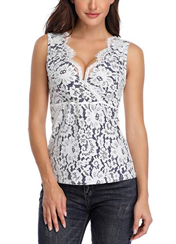 (Anienaya Women's Sleeveless Scallop V Neck Floral Lace Crossover Sexy Slim Tank Tops (X-Large(US 16-18), White & Navy Blue)