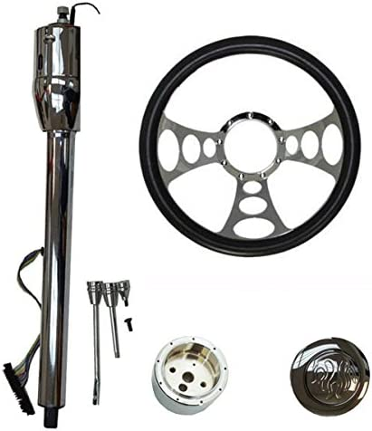 DEMOTOR PERFORMANCE 14 Chrome Nine Hole Steering Wheel and Manual Steering Column 32 GM No Key/&Flame Horn Button