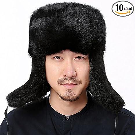 039b89a6af028 Amazon.com  Valpeak Mens Winter Real Rabbit Fur Russian Ushanka Hats ...