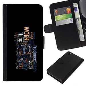 YiPhone /// Tirón de la caja Cartera de cuero con ranuras para tarjetas - TIPOGRAFÍA TRABAJO - HTC DESIRE 816