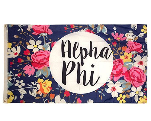 Alpha Phi Floral Pattern Sorority Flag Greek Use as a Banner Large 3 x 5 Feet Sign Decor A Phi (Omega Phi Psi Merchandise)