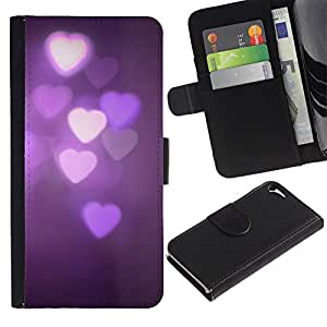 KingStore / Leather Etui en cuir / Apple Iphone 5 / 5S / Purple Luces Noche Oscura Violeta