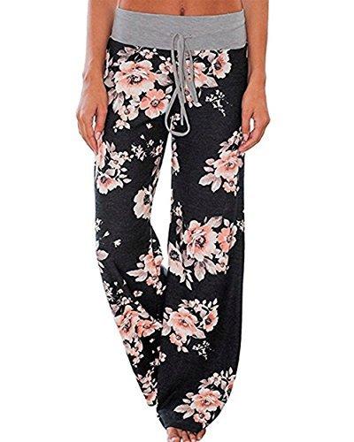AceIce Women's Comfy Stretch Floral Print Lounge Pants Casual Drawstring Palazzo Pants Wide Leg Pajama Pants (Black, Tag L= US 8) (Pants Shirt Pajamas)