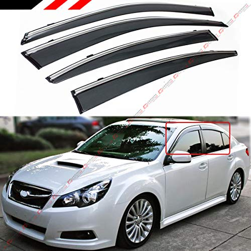 - Fits for 2010-2014 Subaru Legacy 4 Door Sedan Premium Chrome Trim Clip-on Window Visor Rain Guard Deflector Vent Shade