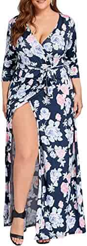 809e7efc5e20 MERRYA Women s Plus Size Casual Deep V Neck Floral Wrap Split Maxi Dress
