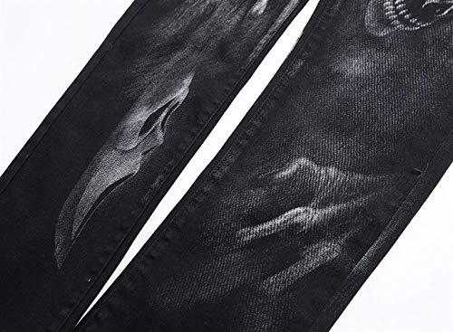 Denim In Casual Stampa Tessuto Pantaloni Ragazzi Fit Slim Classiche Uomo Fantasia Jeans Retro Strappati Con Stila Da PHw0qTg