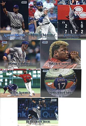 2019 Topps Stadium Club Baseball Texas Rangers Team Set of 8 Cards: Patrick Wisdom(#207), Joey Gallo(#240), Shin-Soo Choo(#241), Willie Calhoun(#248), Adrian Beltre(#275), Rougned Odor(#279), Nomar Mazara(#297), Elvis Andrus(#299)