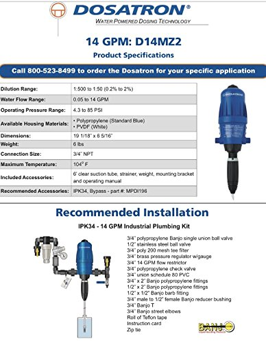 Dosatron Water Powered Dosing System D14MZ2 1:500 to 1:50