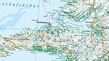 Islandia, mapa impermeable de carreteras. Escala 1:425.000. Reise ...
