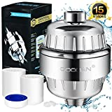 Wlw Direct Shower Filter, 15-Stage High Output Showerhead Water Purifier Hard Water Softener with Two Replacement Filtration Cartridges, Remove Rust, Heavy metal, Chlorine, Protect Your Skin and Hair