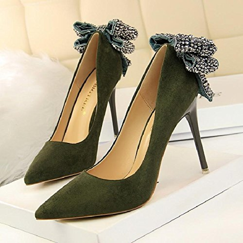 Primavera De GAOLIM La Bien Heel El De Con Zapatos Alta Punta La La Zapatos Mate Luz Femeninos Zapatos Singles Shoes De Broca Inserte Está Mujer Mujer De verde Pajarita rwTtRqCzrx