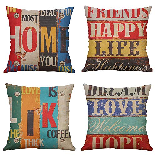 MIULEE Pack of 4 Decorative Pillow Covers Love Life Pillowcases Solid Square Cushion Cover Cotton Linen Throw Pillow Covers Home Decor for Sofa Car Bedroom 18x18 Inch