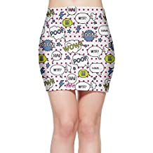 Dyyylwi Comic Bubbles Pattern With A Pop Style Office Cotton Casual Slim Pencil Skirt