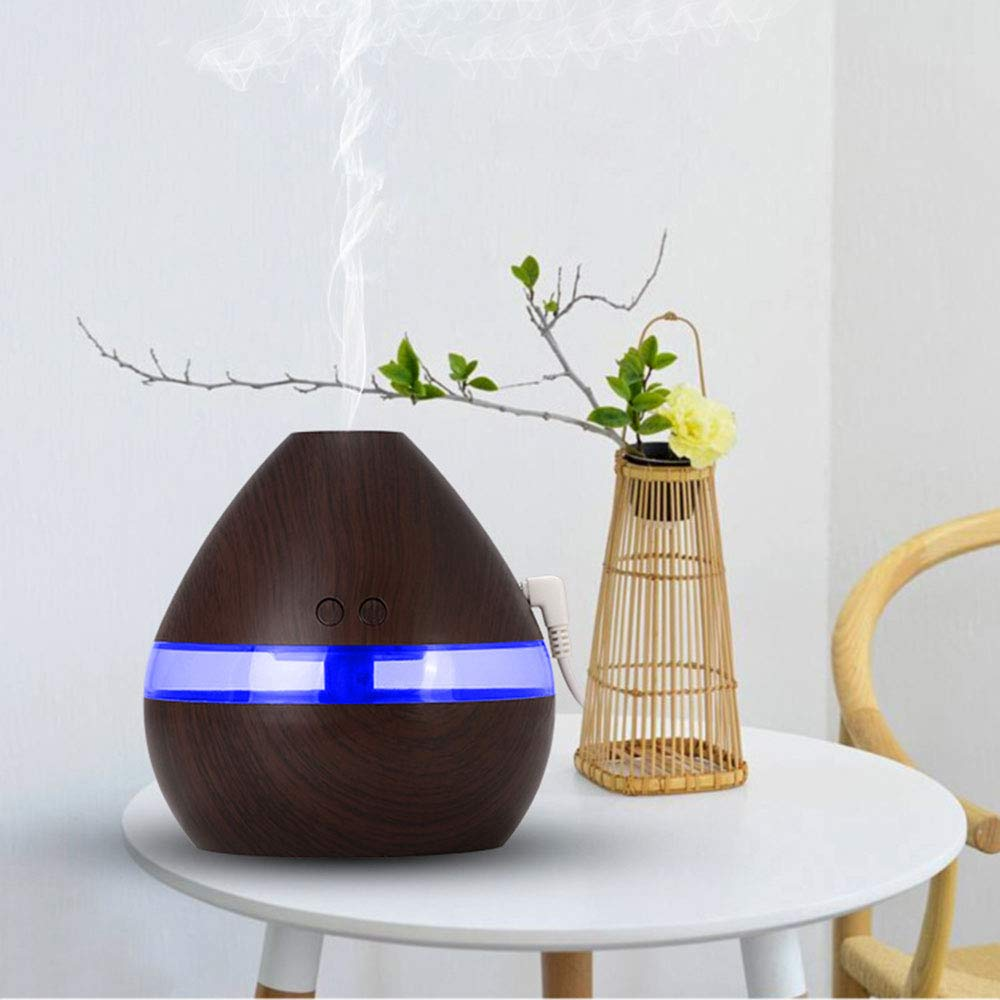 Blinkle Humidifiers Humidifier Diffuser Cool Mist Humidifier USB Wood Grain Humidifier 300ml with Waterless Auto Shut-Off Whisper Quiet for Bedroom Baby Room Office Yoga