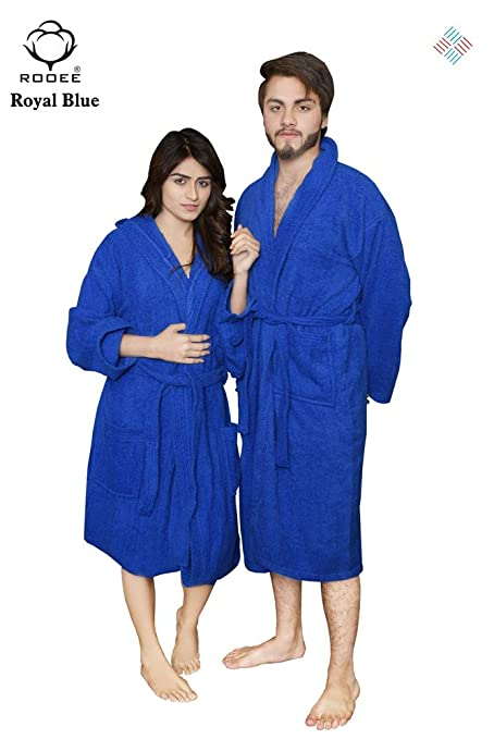 47b3798a7b QAISIRIA Egyptian Cotton Bath Robes For Men and Women Unisex Terry  Towelling Cotton Dressing Gown Nightwear