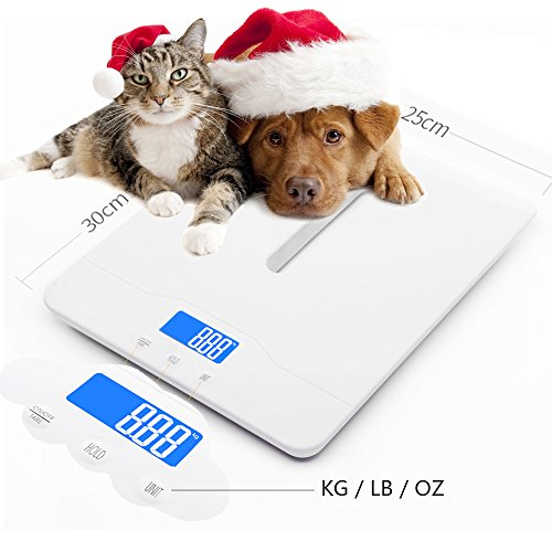 Multi-Function Digital Pet Scale to Measure Dog and Cat Weight Accurately Up to 220 Lbs, Precision at ± 10g, Blue Backlight, Especially for Pregnant Cats and Baby Pets (60 cm) by TeaTime (Image #1)