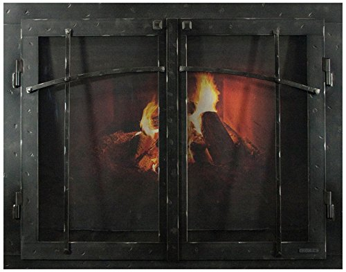 Glass Iron Fireplace - Ironhaus Iron Fireplace Glass Door with Gate Mesh with 2 1/2