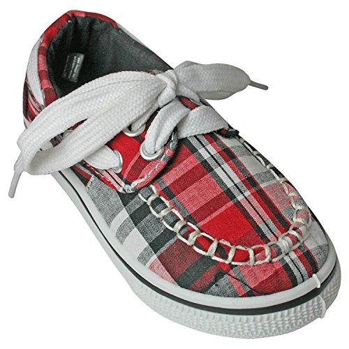 DAWGS Kaymann Boat Shoe , Red Plaid, 2 M US Little Kid
