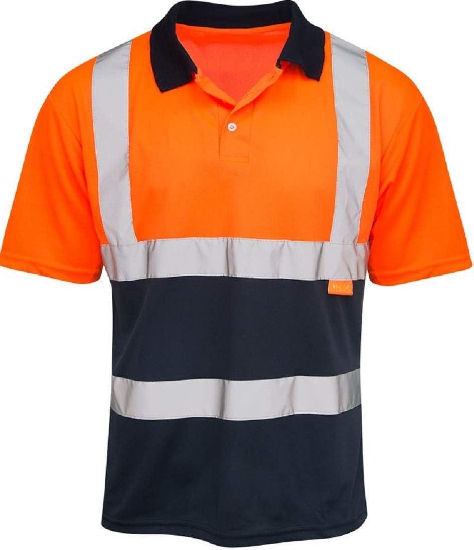 Polo Reflectante de Alta Visibilidad en Dos Tonos, Naranja y Azul ...