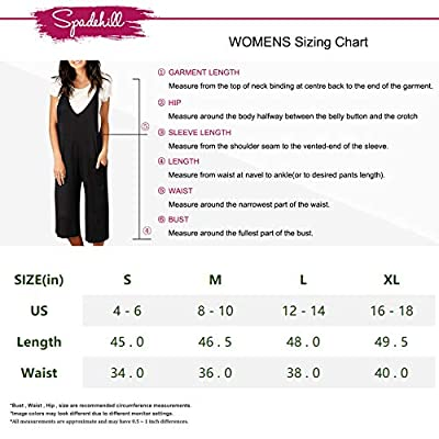 Spadehill Women Sleeveless Loose Jumpsuits Casual Overalls Wide Leg Pocket Strap Long Pants Rompers Black S: Clothing