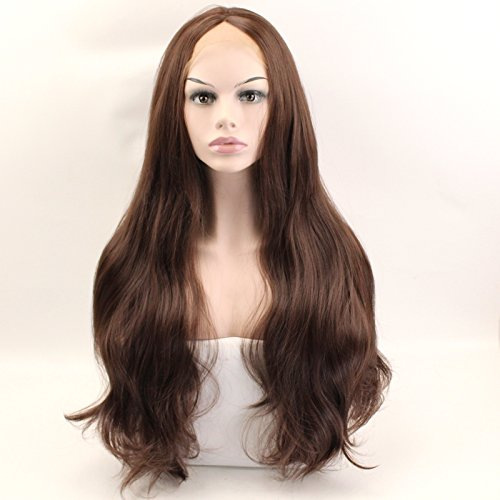 (Wiged Front Lace Long Curly Hair Dark Brown Matte Wig In Realistic Hand Woven 70 Cm Long Wigs,Dark Brown Long Curly Hair (Send Double-Sided Adhesive A) Stealth Performance Party Of)