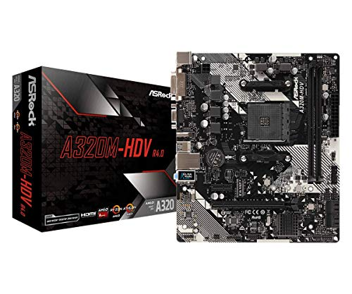 ASRock AMD Ryzen AM4 Compatible with A320 Chip MicroATX Motherboard A320M-HDV R4.0
