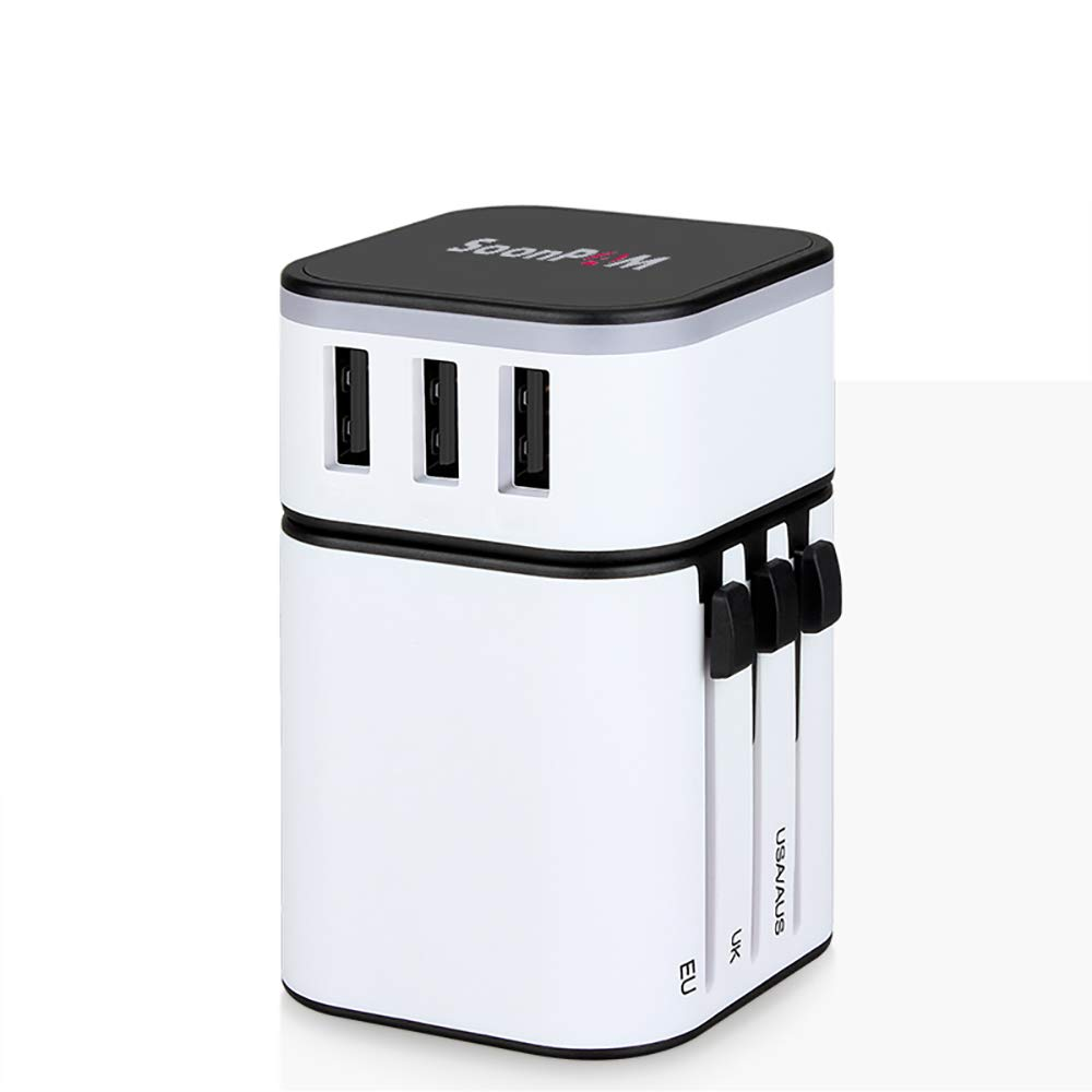 Universal Travel Adapter International Power Adapter European Plug Conventer Worldwide All in One with 3 USB Ports US to Europe Plug Adapter for US UK EU AU Asia(White)