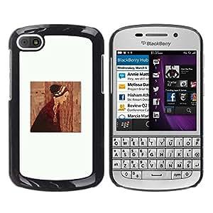 Caucho caso de Shell duro de la cubierta de accesorios de protección BY RAYDREAMMM - BlackBerry Q10 - Clean Painting Dress Deep White