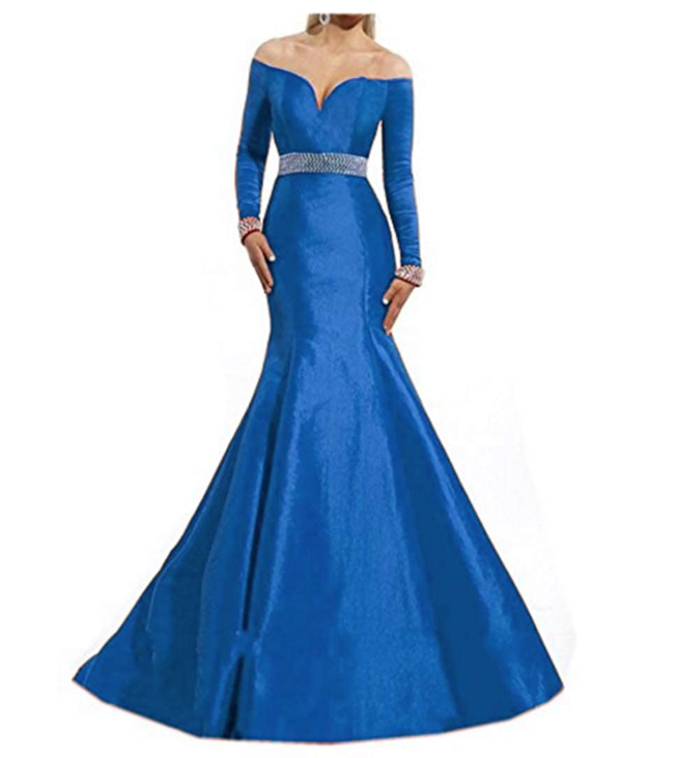 bluee ANGELA Women's Off The Shoulder Long Sleeves Mermaid Formal Long Evening Dresses