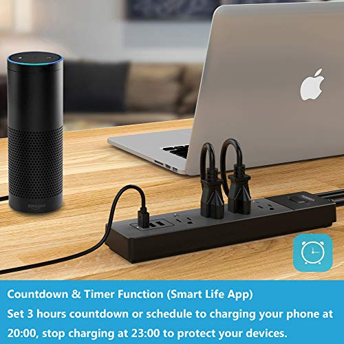 Smart Power Strip Alexa, TESSAN WiFi Multi Outlets with 3 USB Ports & 4 Remote Controlled AC Plugs, Overload Switch Charging Station with 6FT Extension Cord, Work with Echo/Google Home/IFTTT - Black by TESSAN (Image #3)
