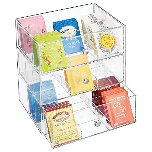 - mDesign Plastic Kitchen Pantry, Cabinet, Countertop Organizer Storage Station with 3 Drawers for Coffee, Tea, Sugar Packets, Sweeteners, Creamers, Drink Pods, Packets - 27 Sections - Clear