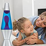 14.5-Inch Silver Base Lava Lamp with Purple Wax in