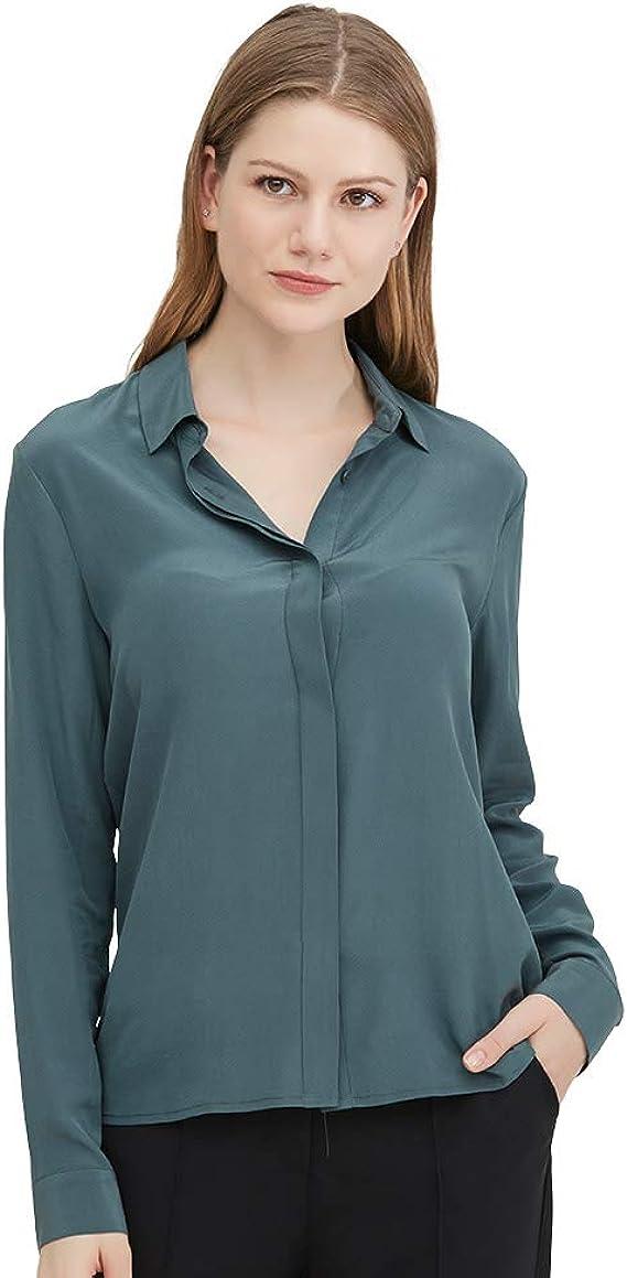 LilySilk Camisa Básica de Seda para Mujer 18 MM