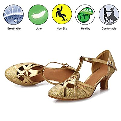 DKZSYIM Women's Fashion Ballroom Party Glitter Latin Dance Shoes Model CMJ-511