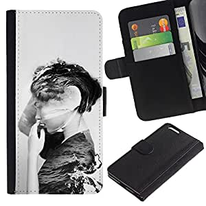 APlus Cases // Apple Iphone 6 PLUS 5.5 // Negro Blanco Mar Océano profundo Mujer // Cuero PU Delgado caso Billetera cubierta Shell Armor Funda Case Cover Wallet Credit Card