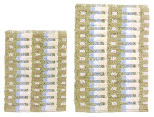 Cotton Craft - 2 Piece Bath Rug Set - Matrix - Natural Blue Green - 100% Pure Cotton with Spray Latex Back - High Quality and absorbent - Super Soft and Plush - Hand Tufted Heavy Weight Durable Construction - Larger Rug is 21x32 Oblong and Second Rug is Oblong 18x24 - Easy care machine wash