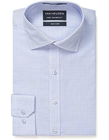 f80048e6 Van Heusen Men's Euro-Tailored Fit Micro Check Business Shirt