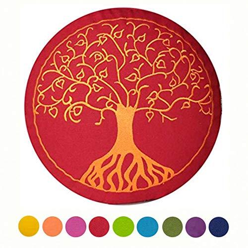 Maylow Yoga mit Herz Cojín de yoga con bordado del Árbol de la Vida, 33 x 15 cm, relleno de espelta, funda y relleno 100% algodón, color Buddhistisch ...