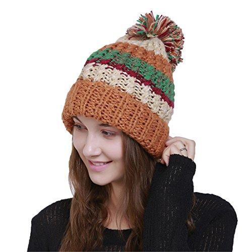 De Avec style 1 Pompon Laine Orange Bonnet Fil Tricoté Femme Acvip Chapeau En Pour 47qS0TIx